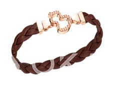 Wulu 18K玫瑰金钻石链扣(小)及可替换 咖啡色牛皮编织皮带