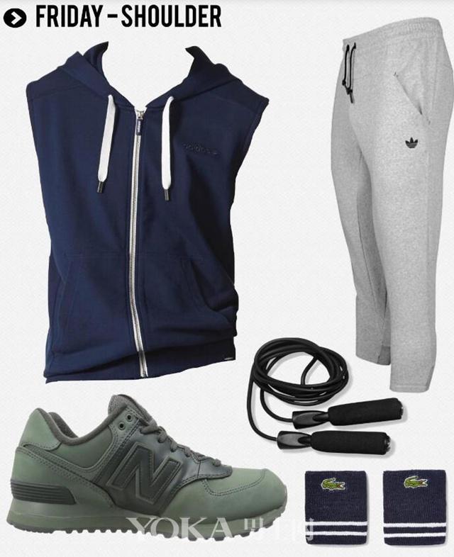 带帽拉链马甲 Adidas; 运动裤 Adidas; 跳绳 King Athletic; 护腕 Lacoste; 运动鞋 New Balance。