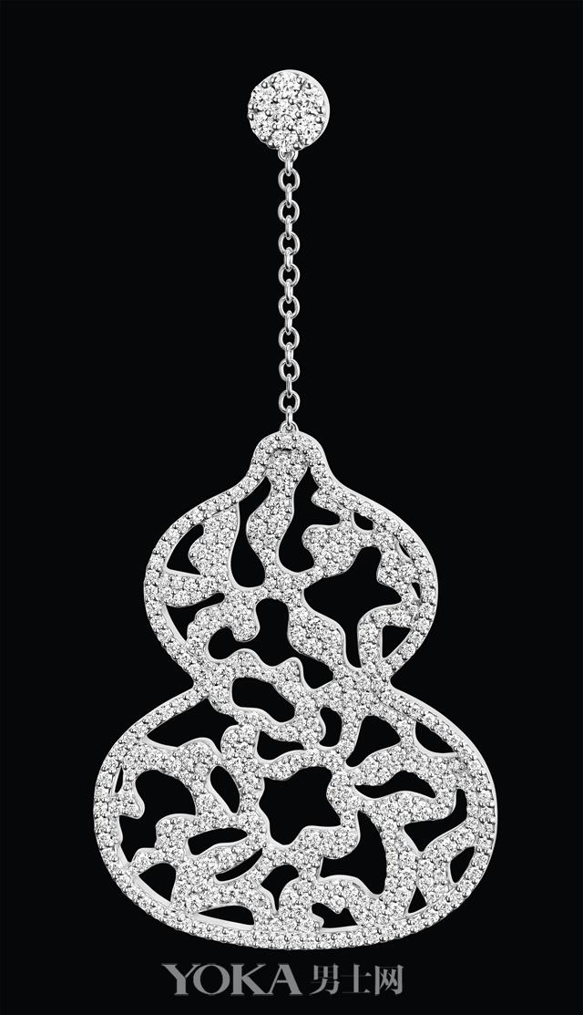Wulu Lace 18K 白金钻石耳环