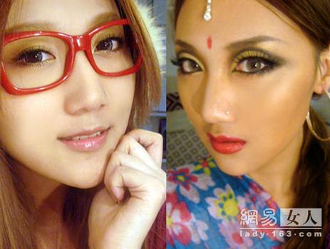 狸示范印度美女妆