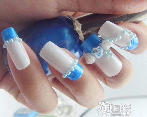 美甲diy 闪片蝴蝶结+天蓝玫瑰花(15)