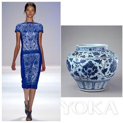 Tadashi Shoji 2013春夏系列和中国青花瓷