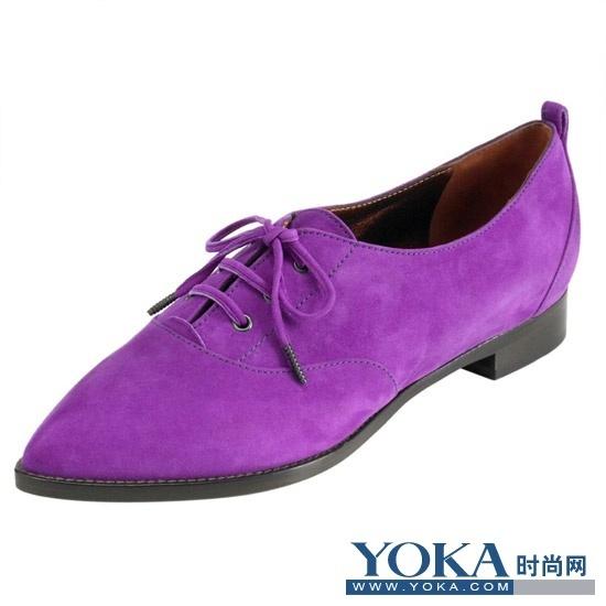 mulberry紫色鹿皮布洛克皮鞋