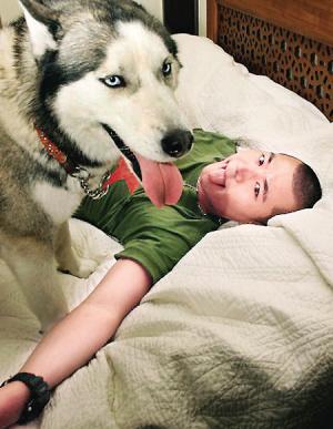 看明星与可爱宠物合影