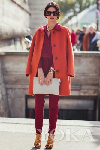 橘红色短裙搭配图