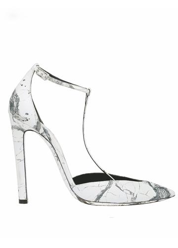 白色大理石花纹高跟鞋