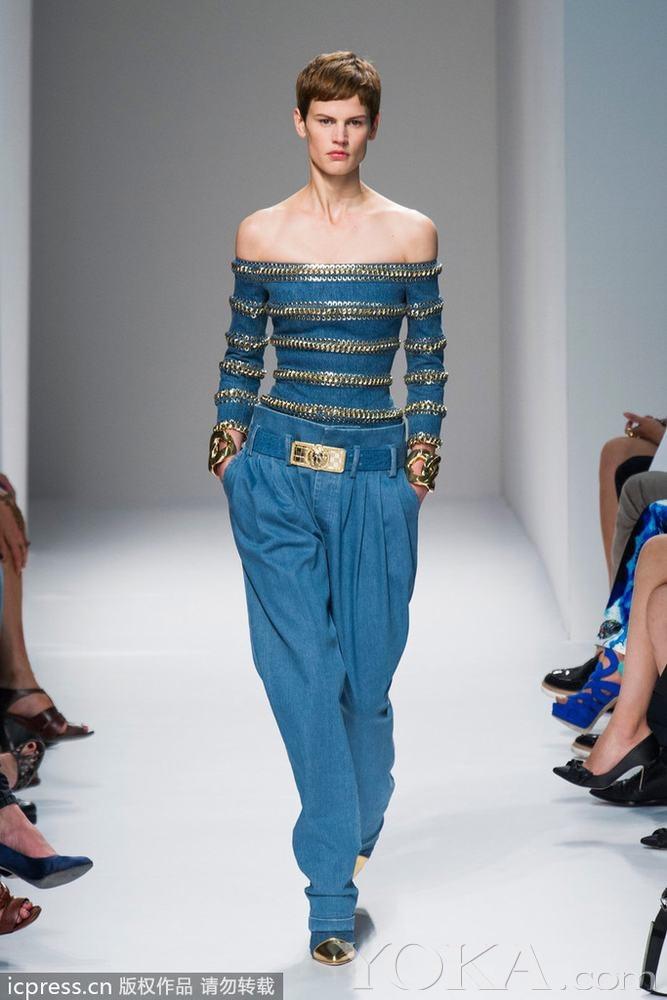 2014春夏巴黎时装周balmain超模助阵