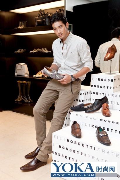 秦舒培和高以翔共贺意大利鞋履品牌Fratelli Rossetti杭州旗舰店开张