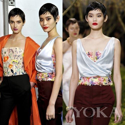 中国模特奚梦瑶在Dior秀场