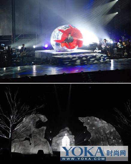 银色的水晶球与雪山造型是演唱会上的两大亮点