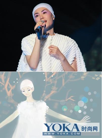 将王菲的白雪女王装扮与漫画对比在一起还真的是神似8分呀。