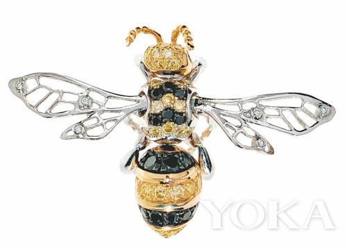 Chopard18K 白金镶嵌钻石黄水晶蜜蜂胸针