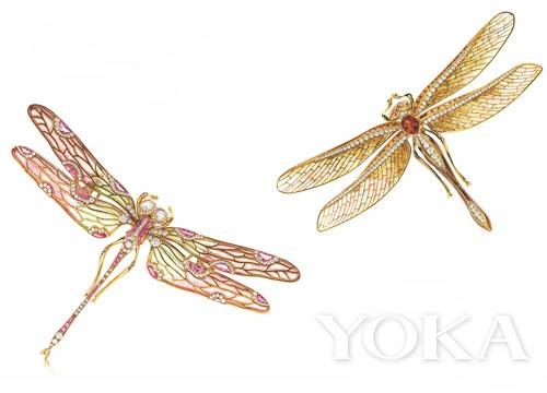 Tiffany & Co.18K 黄金镶粉红蓝宝石蜻蜓胸针
