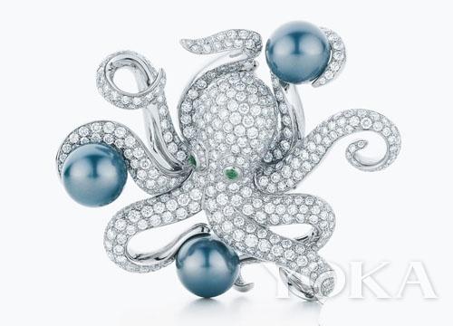 Tiffany & Co.铂金镶珍珠及钻石章鱼胸针