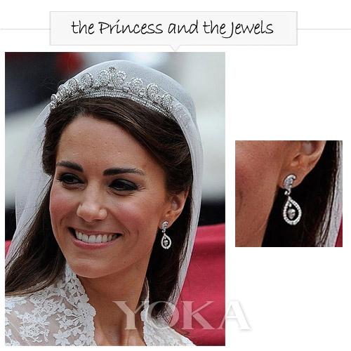 婚礼上佩戴的钻石耳环