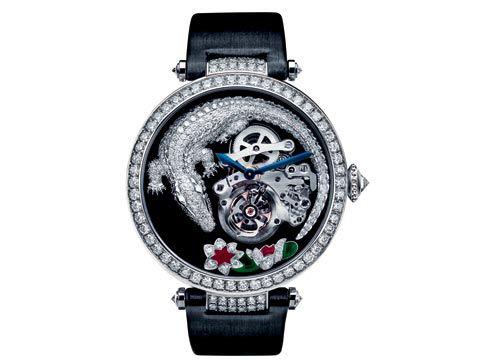 卡地亚鳄鱼纹饰陀飞轮机芯手表