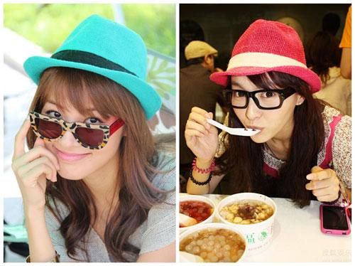 郑罗茜与唐嫣帽子+框架眼镜