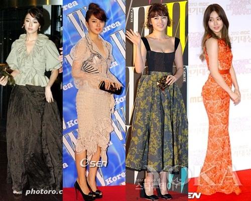 左起:2006年、2009年、2010年、2012年的尹恩惠在蜕变
