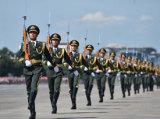 陆海空三军仪仗队接受检阅