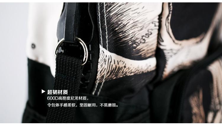 [休闲箱包]美国mojo创意印花双肩包骷髅先生双肩背包